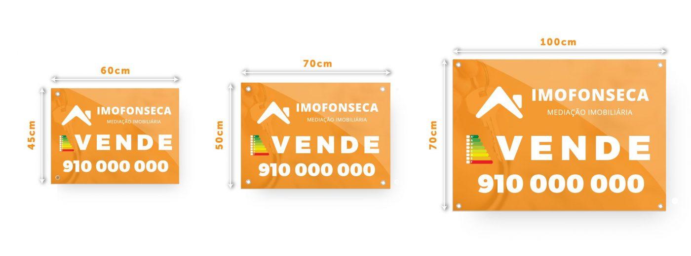 dimensão de placas de imobiliárias